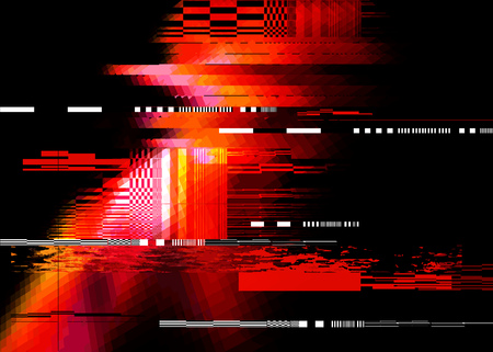A redglitch noise distortion texture background. Vector illustration Çizim