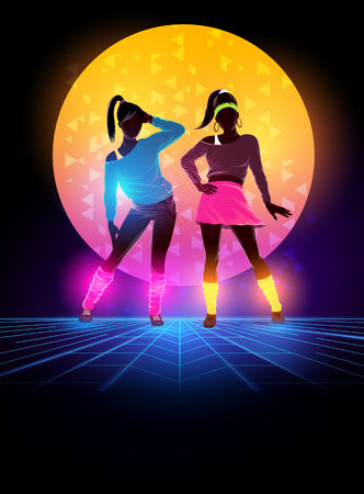 Women dressed up 1980s fashion. Retro dance background design. Vector illustration Illustration