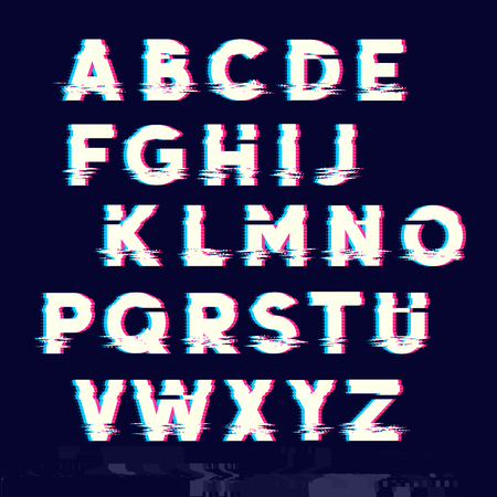 lagging: Glitch displacement type letters with fault lines. Vector illustration Illustration