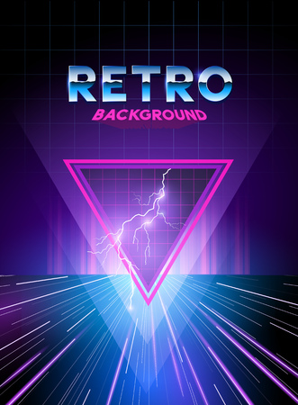 Retro 1980s digital landscape background with neon effects.