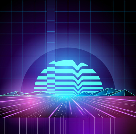 Retro 1980s Neon future background horizon. Vector illustration Çizim