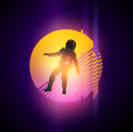 Retro 1980's gitch distortion background with a spaceman. Vector illustration