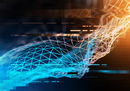 figuras abstractas: concepto de red de tecnología compleja con grandes datos y la información visualizada en polígonos. Ilustración 3D Foto de archivo
