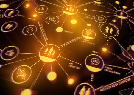 Verbonden belangen. Een nauw verbonden netwerk van mensen, data en technologie. Illustratie. Stockfoto