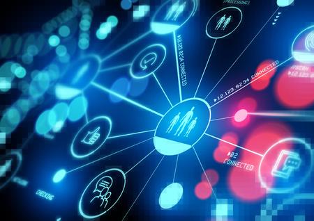 Intérêts connectés. Un réseau étroitement connecté de personnes, de données et de technologies. Illustration.