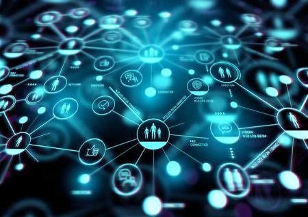 Aumentare le connessioni. Una rete stretta di persone e di tecnologia. Illustrazione.