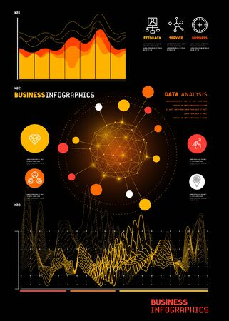 grid: A set of detailed business infographic statistic charts and reports. Vector illustration. Illustration