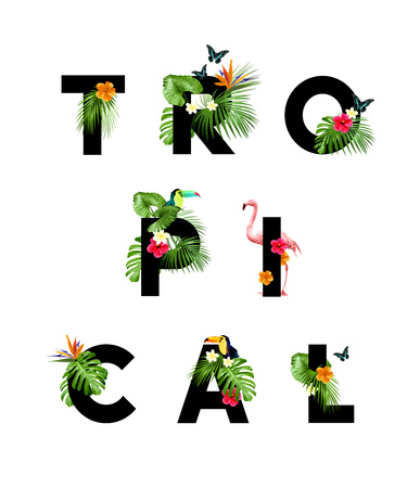 letter: Tropical themed lettering type with jungle palms and wildlife. Vector illustration Illustration