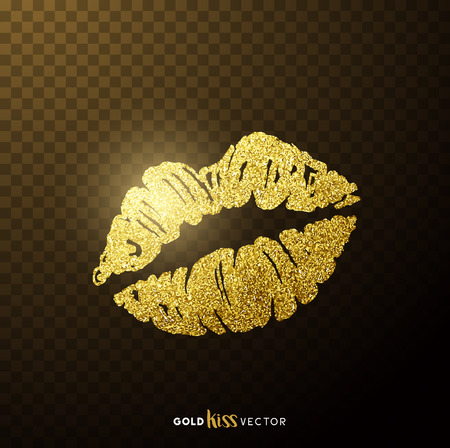 Gold and glittering glamorous kissing shaped lips. Çizim