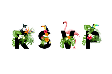 R.S.V.P invitation card with tropical palm leaves and floral elements. Vector illustration.