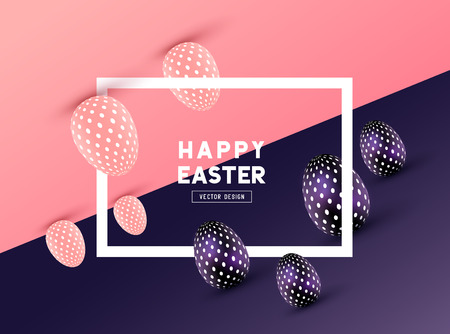 An abstract Easter Frame Design with 3D effects and room for promotion / holiday messages. Vector illustration Çizim