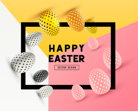 An abstract Easter Frame Design with 3D effects and room for promotion / holiday messages. Vector illustration  イラスト・ベクター素材