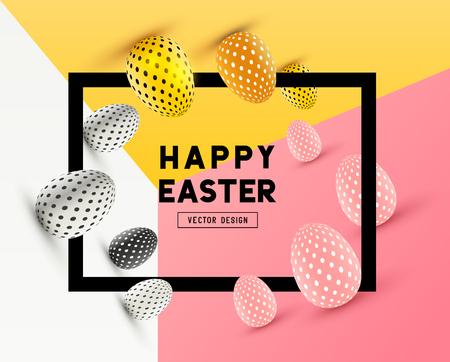 Un diseño abstracto Marco de Pascua con efectos 3D y espacio para mensajes de promoción / vacaciones. ilustración vectorial