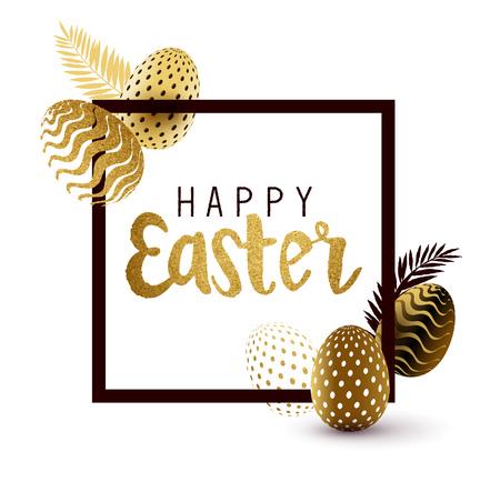 Easter Frame design with gold lettering and gold easter egg patterns. Vector illustration Illustration