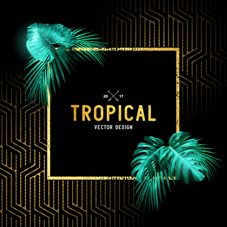 Vintage tropical border design with palm leaves and gold detail. Vector illustration