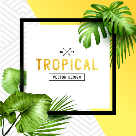 Exotic tropical summer frame with palm leaves and patterned background. Vector illustration Çizim