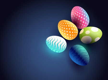 A modern Easter egg background design with bright chocolate eggs and room for wording. vector illustration