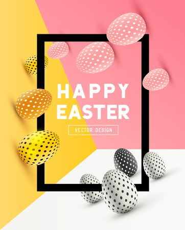 An abstract Easter Frame Design with 3D effects and room for promotion / holiday messages. Vector illustration Vettoriali