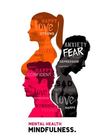 mente humana: La mente humana. Un grupo de personas que muestran una variedad de diferentes emociones y sentimientos. Concepto de salud mental.