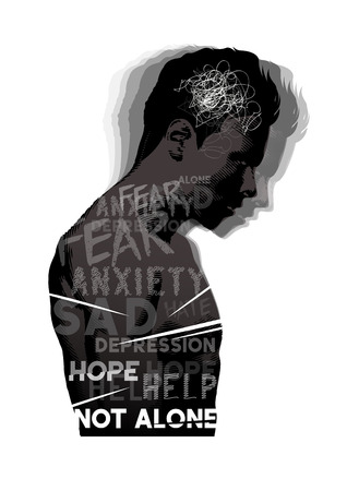 coping: A man experiencing feelings of fear, anxiety and depression. Mental Health vector illustration. Stock Photo