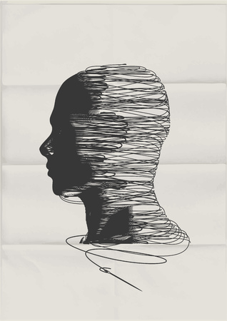 The Human Mind. The shape of a mans head tangled up with threads of string - mental health concept.