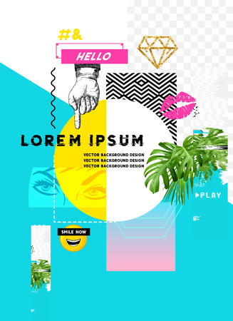 Glitch retro wave design with various design elements and room for copy text. Vettoriali