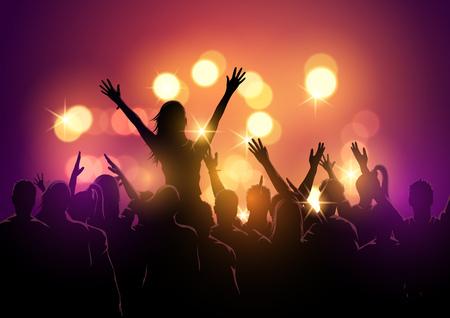 Een groep jonge mensen in een menigte op een concert van het muziekfestival. Vector illustratie