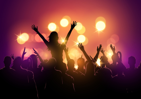 A group of young people in a crowd at a music festival concert. Vector illustration