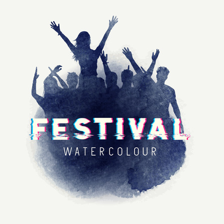一群年轻人在水彩样式的音乐会。矢量图
