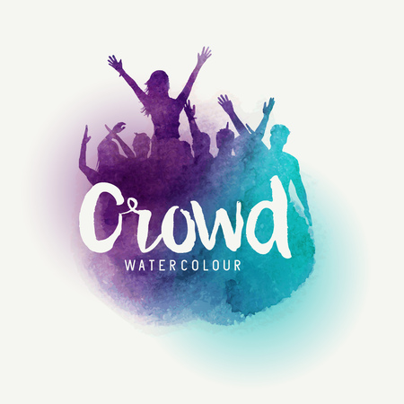 A crowd of young people at a concert in watercolour style. Vector illustration