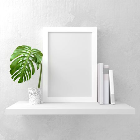 layout: A photo frame mock up on a white shelf. Clean and minimal design. 3D render illustration