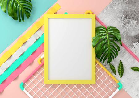 Modern and playful mock up background frame design. 3D Illustration render.