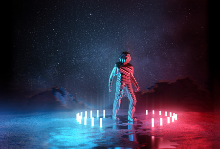 Almost Human. Strange Futuristic spaceman illuminated by red and blue lights at night. 3D Illustration.