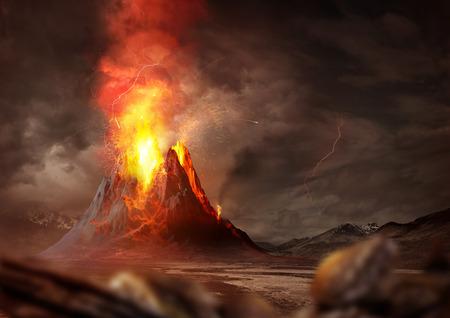 Erupción volcánica masiva. Un gran volcán en erupción de lava caliente y gases en la atmósfera. Ilustración 3D. Foto de archivo