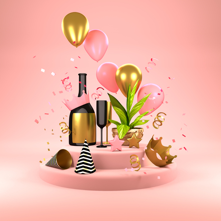 Pink Party Background - celebrations with champagne, balloons, party hats and confetti