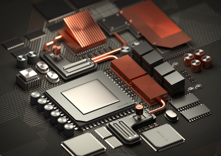 mobile: Modern Technology background.A close look at a performance computer CPU on a motherboard for processing data. 3D illustration render.