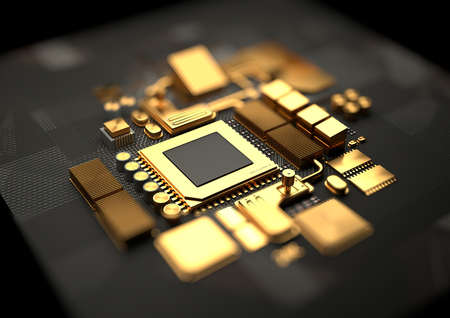 Technology background with 24k gold CPU and motherboard chipset components. 3D illustration render Stock Photo