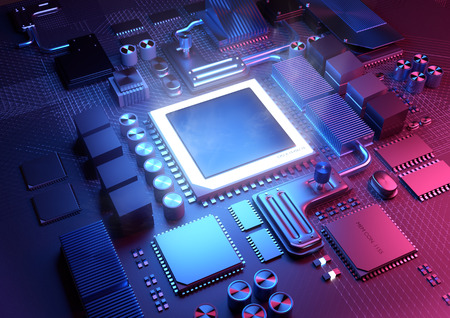hardware: Technology background. A glowing CPU on a motherboard. 3D illustration render. Stock Photo