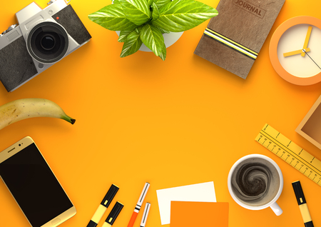 Top down view of modern work space office desk with essentials including coffee, office plant, mobile device, camera, food snacks and business tools - in orange. 3D illustration render. Stock Photo