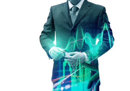 Double exposure businessman with stocks and shares. Investing background. Banque d'images