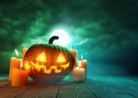 A glowing Pumpkin Jack-O-Lantern lit by an eerie green moonlight on Halloween, mixed media illustration.