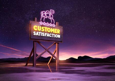 five stars: customer satisfaction neon road sign glowing at night. Mixed media illustration Stock Photo