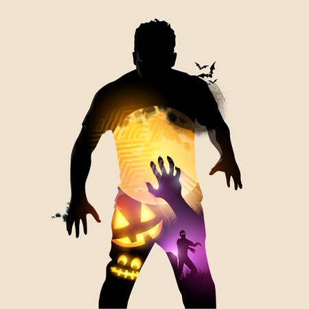 A rising halloween zombie, double exposure effect vector illustration.