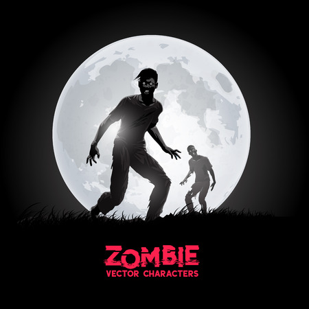 A couple of decaying flesh eating zombies silhouetted against the rising moon. Vector illustration
