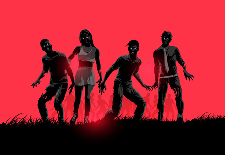 A group of decaying flesh eating zombies. Vector illustration. Stock Illustratie