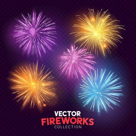 Set of isolated bursting fireworks icon.