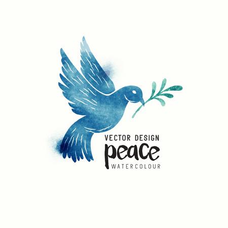 Ein isoliertes Taubenfliegen. Weihnachtssymbol des Friedens tauchte Aquarell. Vektor-Illustration.