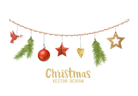 hanging christmas decorations composition with fir tree branches wooden stars and xmas baubles vector - Hanging Christmas Decorations