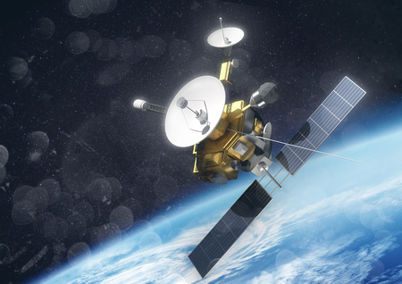 A satellite probe in space orbiting planet earth. 3D Illustration. 写真素材