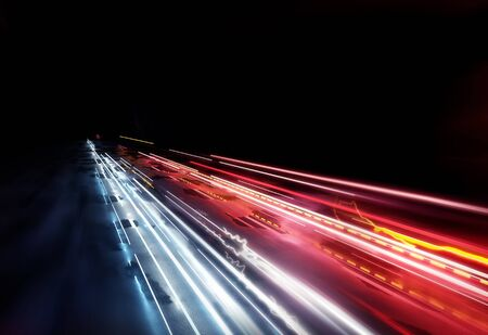 Fast moving traffic light trails, long exposure effect. 3D illustration. Stockfoto - 95153333